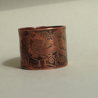 folk art ring copper etched