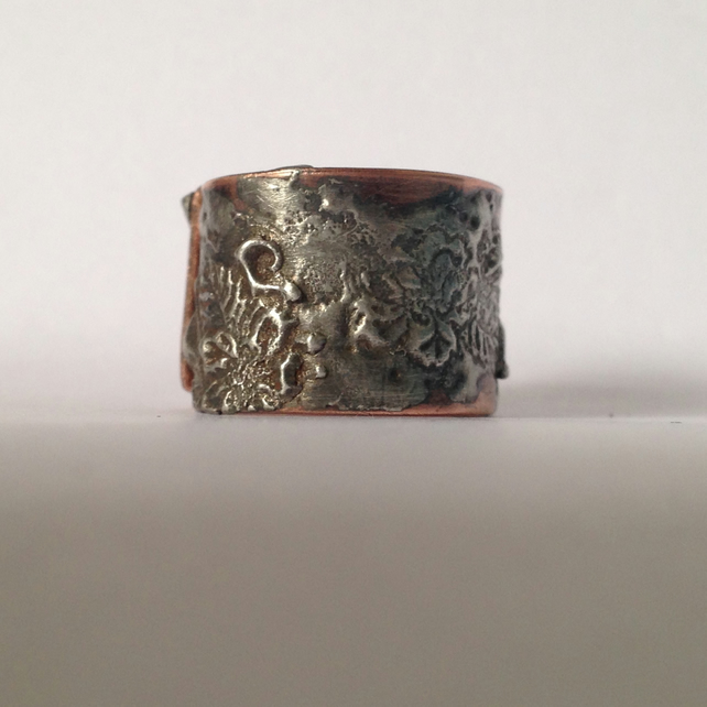 Silver solder and copper flower ring