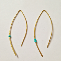 Earrings turquoise and brass