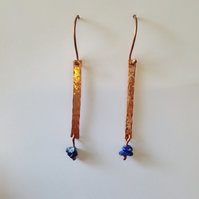 Earrings copper and lapis