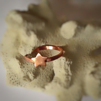 Tiny Copper star ring