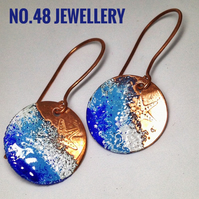 Sea spray enamel earrings