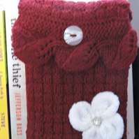 Knitted Kindle Tablet Cover In Dark Red