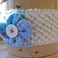 Hand Knitted White Blue Grey Headband Ear Warmer with Flower