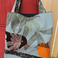 Handmade Turquoise Blue Birds Tote Shopping Bag