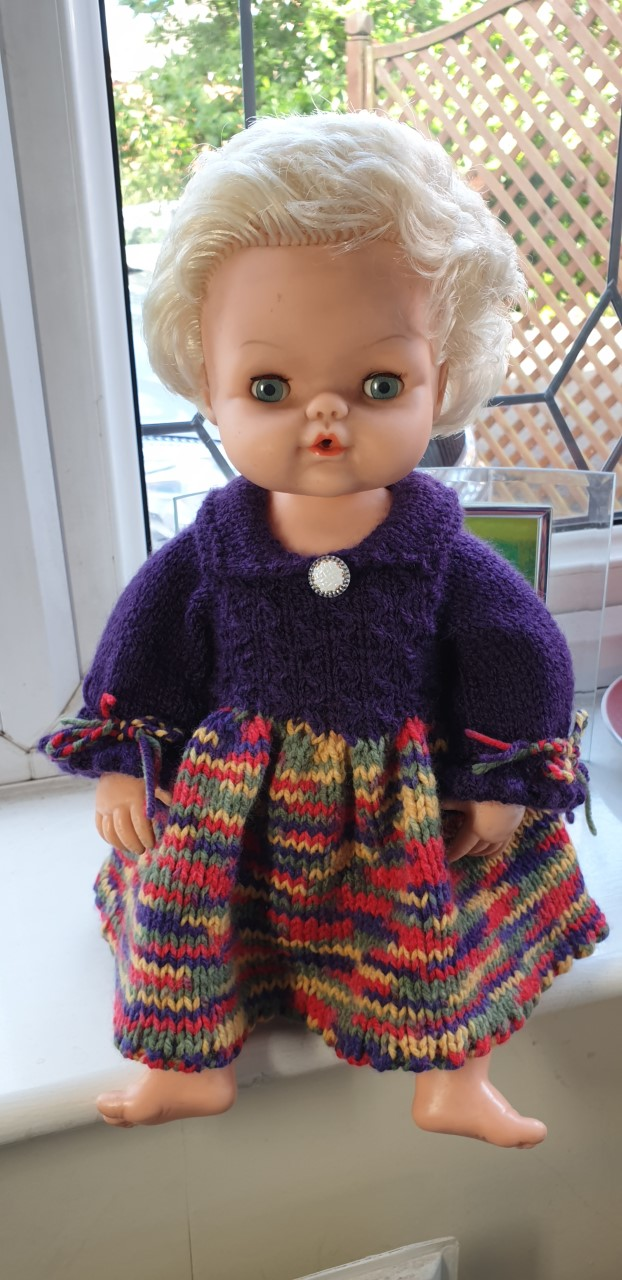 Hand Knitted Purple and Multi Dress for 16 inch Baby Doll