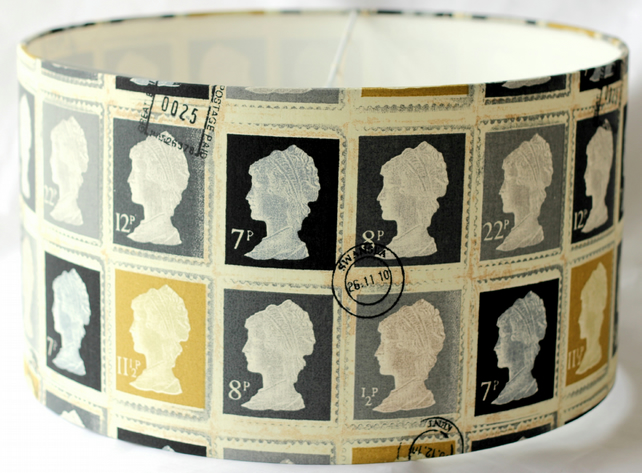 Lampshade Drum Shade In Postage Stamp Fabric In Folksy