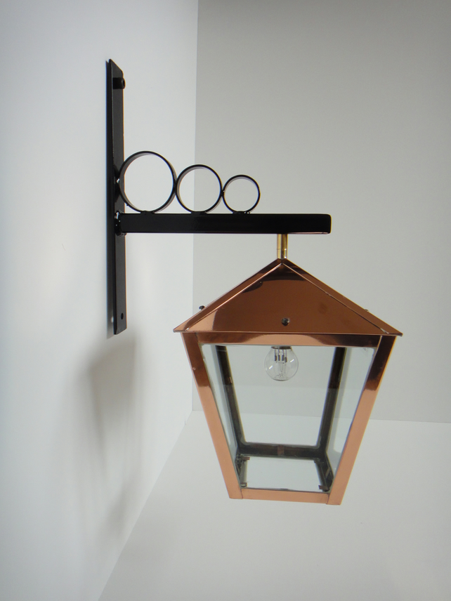 Arts and Crafts style copper hanging porch lantern