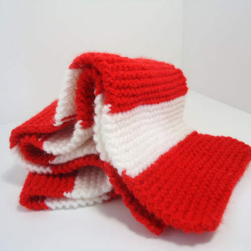 Knitted Red White Football Scarf Folksy