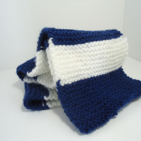 Knitting Pattern For Football Scarf : Knitted Blue & White Football Scarf - Folksy