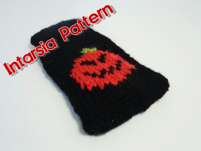 Knitting Pattern For Ipod Sock : Knitted Halloween Pumpkin iPod Sock INTARSIA PA... - Folksy