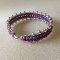 Purple lava and silver woven bracelet (Fantasy flame)