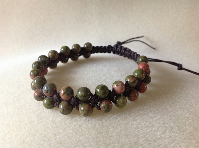 Ukanite gemstone salmon and green woven bracelet.