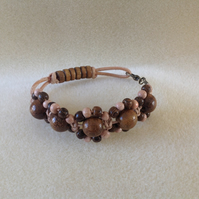 Natural leather and wood woven flower bracelet (Sunflowers)