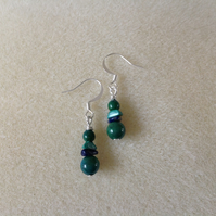 Green and blue gemstone silver earrings ( Slim Exotic mix )