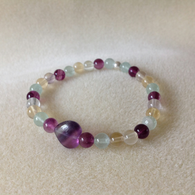 Fluorite gemstone and sterling silver bracelet.