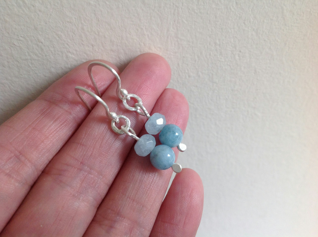 Aquamarine and fine silver gemstone earrings