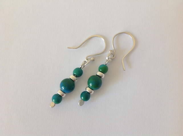 Sterling silver hand crafted green chrysocolla earrings