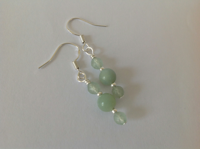 Sterling silver and green Amozonite and Aventurine earrings
