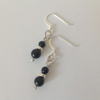 Black onyx and Sterling silver drop dangle earrings