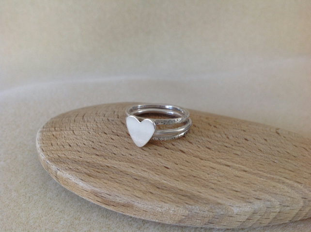 Sterling silver Sweetheart stacking ring set