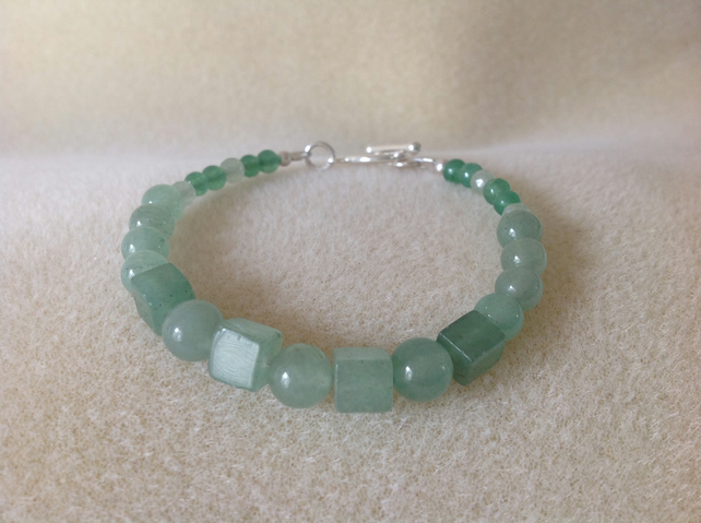 Green aventurine and sterling silver gemstone bracelet