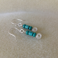 Sterling silver spiral swirl Turquoise drop earrings