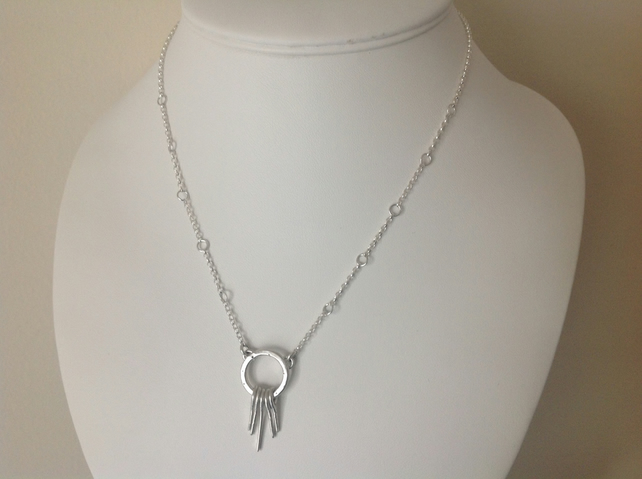 "Sterling silver ""Waterfall"" drop pendant necklace"