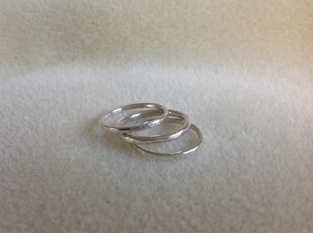 Sterling silver triple stacking ring set