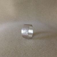 Sterling silver unisex wide band hammered ring