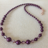 Blackberry maroon pearl and crystal rose gold necklace