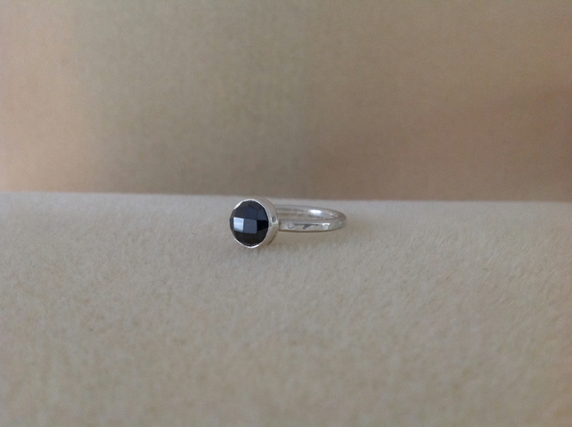 Black Spinel rose cut sterling and fine silver ring