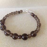 Sterling silver and smoky quartz gemstone bracelet
