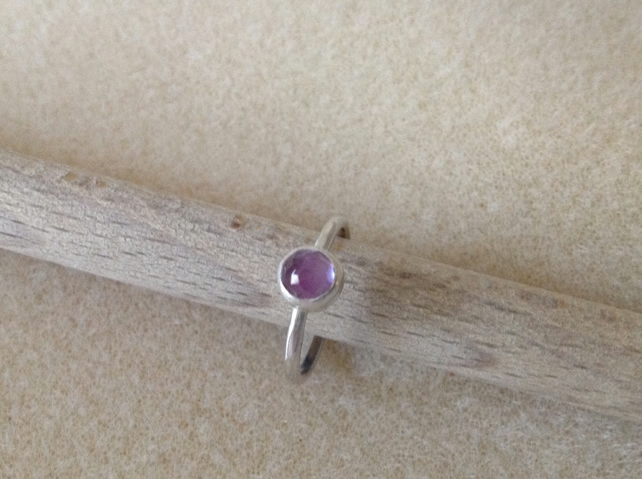 Light purple Brazillian Amethyst rose cut sterling and fine silver  ring