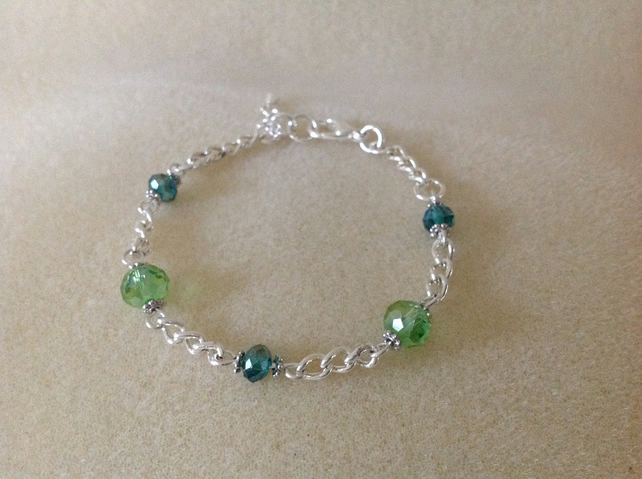 Lime and dark green crystal silver chain bracelet.