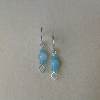 Sterling silver blue Chalcedony and Aqua Quartz diamond shaped earrings
