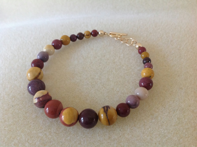 14k gold filled Mookaite beaded bracelet