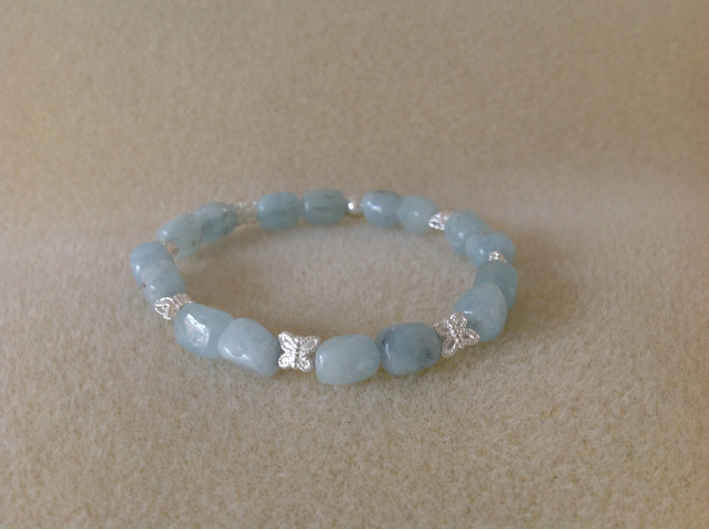 Aquamarine and sterling silver butterfly bracelet