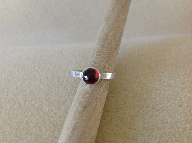 Red Garnet Sterling and Fine silver rose cut ring