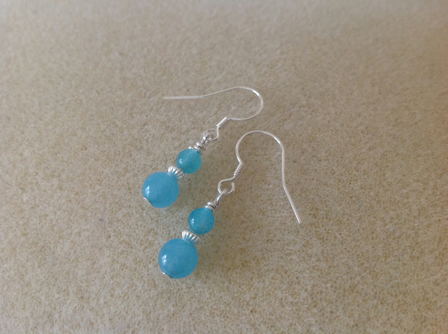 Aqua blue Jade dainty sterling silver earrings