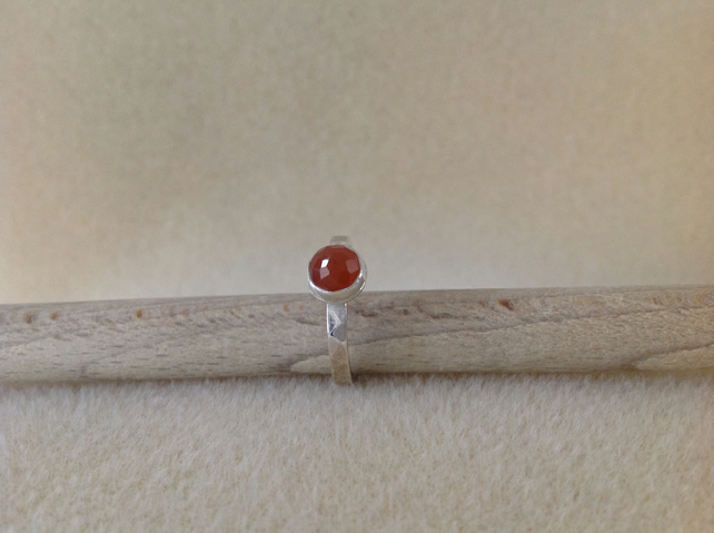 Peach Moonstone and sterling silver ring