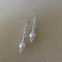 Fine silver fancy freshwater pearl drop earrings