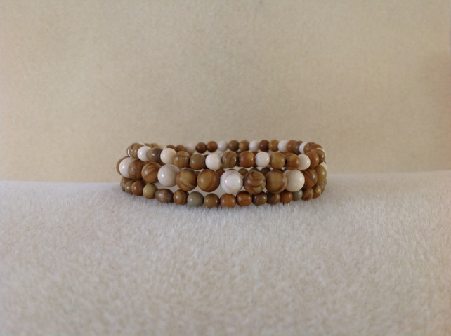 Sandalwood and Fossil Jasper unisex triple bracelet set