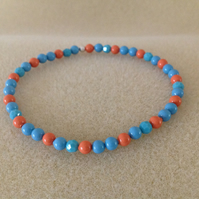 Turquoise and Coral colour pearl beaded dainty bracelet