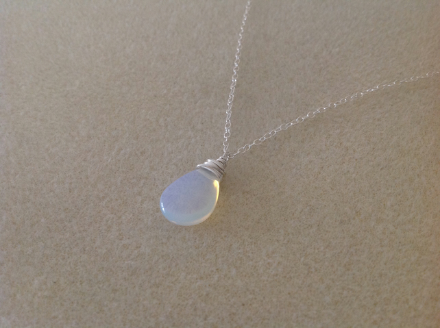 Sterling silver Opalite glass pendant necklace