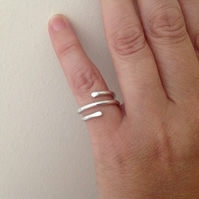 Sterling silver unisex thumb or finger wrap ring