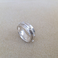 "Sterling silver ""Nautical"" unisex spinner worry ring"