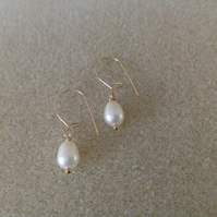 14k Gold filled freshwater pearl drop dainty earrings