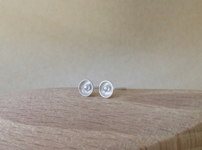 Sterling silver dainty flower cup stud post earrings