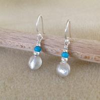 Sterling and Fine silver Turquoise pebble drop earrings